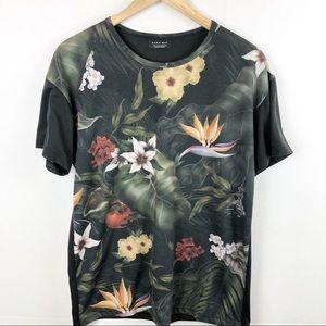 Zara Man Floral Print Lightweight T-Shirt Medium
